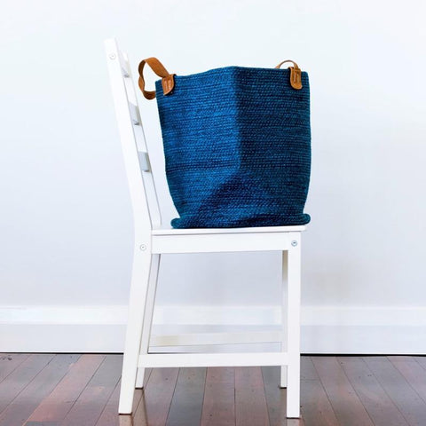 Blue Jute Basket with Suede Leather Handles Fair Trade-Baskets-Janggalay