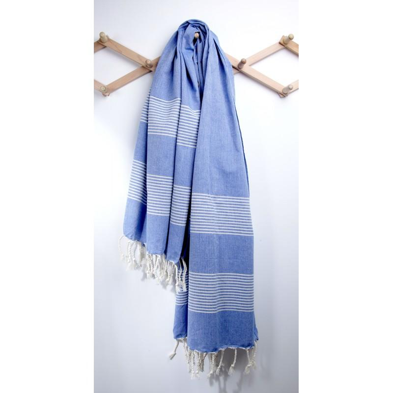Cotton Turkish Towel Peshtemal - Blue with Natural Stripes-Janggalay
