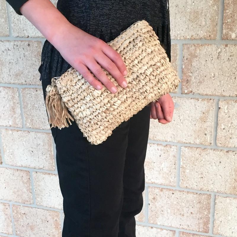Boho Raffia Clutch Purse Bag Handmade Crochet-Janggalay