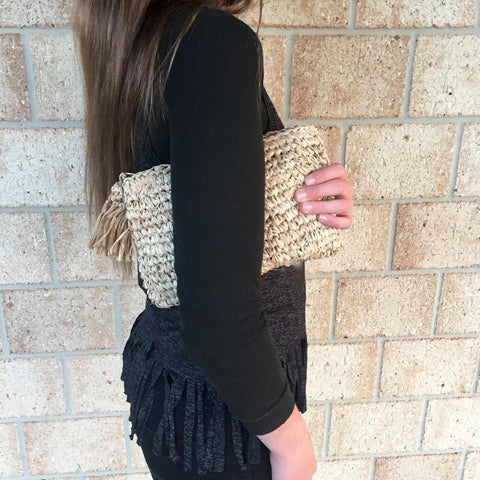 Boho Raffia Clutch Purse Bag Handmade Crochet-For Her-Janggalay.com.au