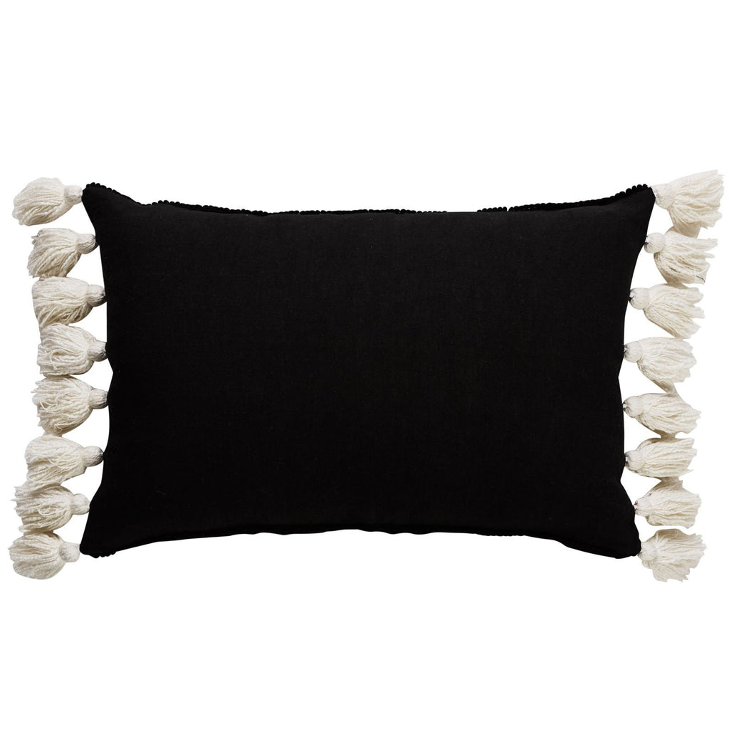 Bentley Black Ink Linen Cushion with Tassels-Janggalay