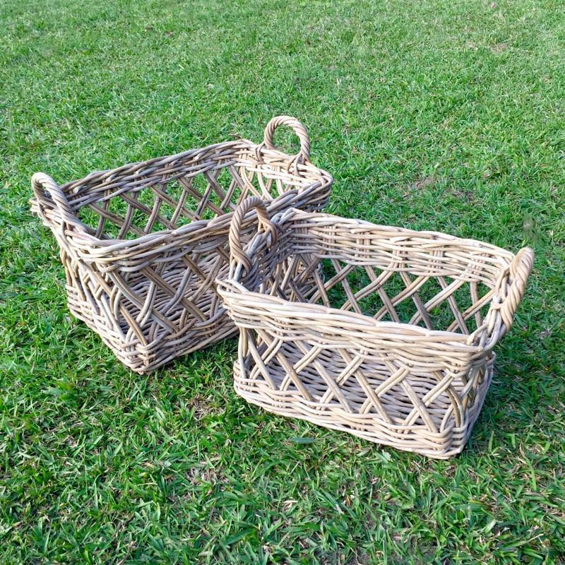 Kubu Cane Basket Antique Grey-Janggalay