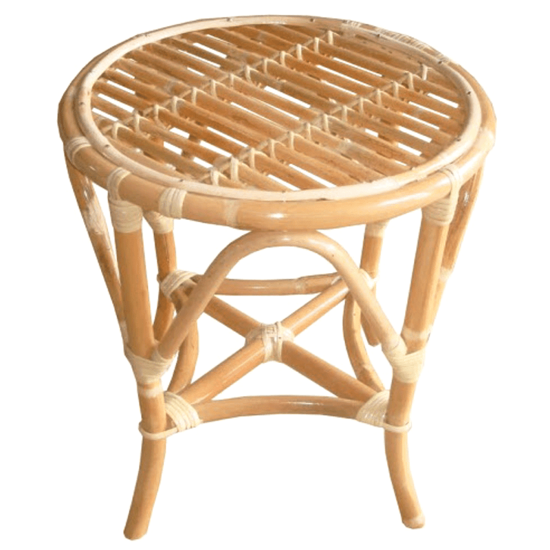 Cane Stool or Small Rattan Side Table Tropical Coastal Style-Janggalay