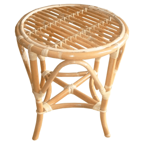 Cane Stool Or Small Rattan Side Table Tropical Coastal Style