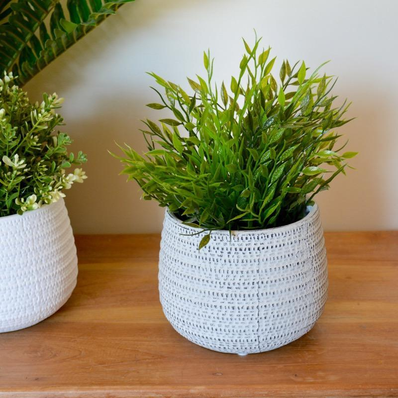 Ceramic Pot Plant Holder White or Light Grey or Dark Grey-Janggalay