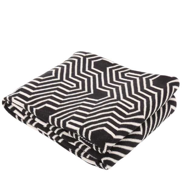 Chocolate and White Cotton Knitted Throw Geometric-Janggalay