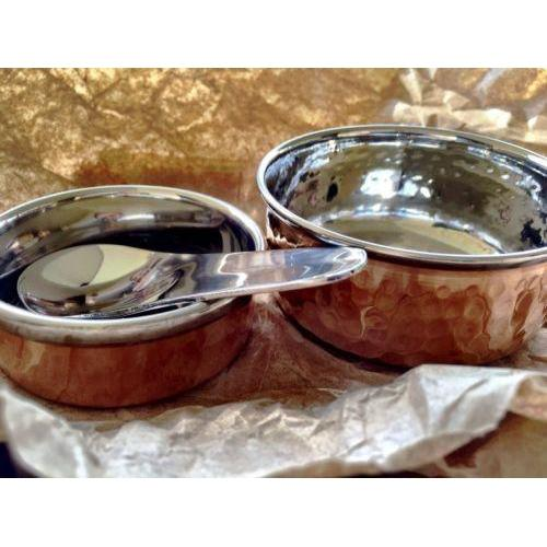 Copper Bowl/Dish and Polished Silver Spoon 3 Piece Set /Serving/Display-Janggalay