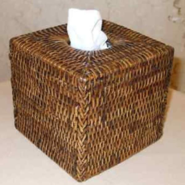 Square Rattan Tissue Box Cover Dark Brown-Janggalay