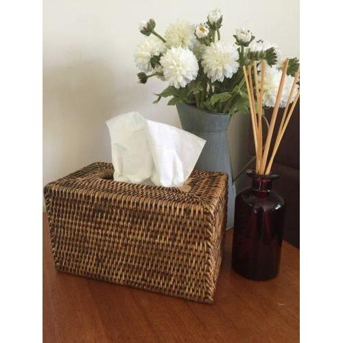 Dark Brown Rattan Tissue Box Cover Rectangle Cane Woven-Janggalay