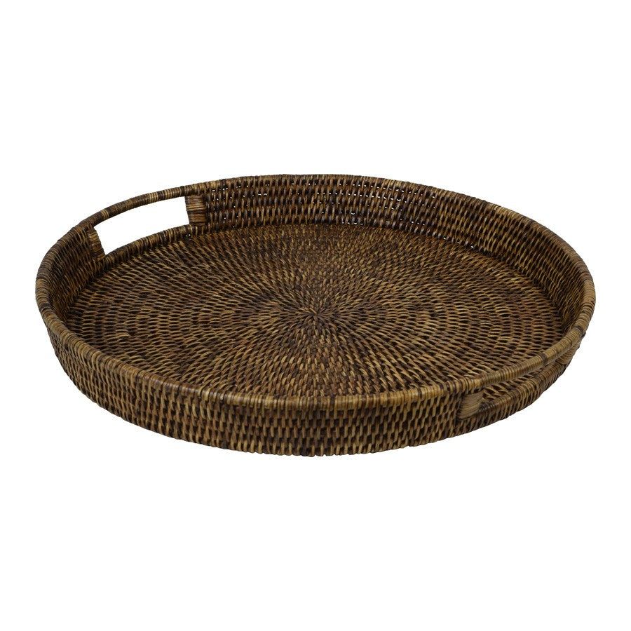 Large Round Rattan 48cm Tray Dark Brown