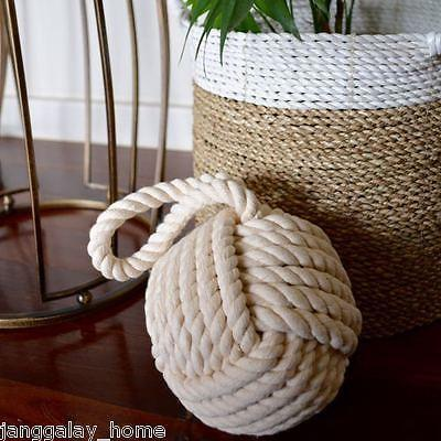Doorstop White Rope Nautical Heavy Maritime Natural Eco-friendly Decor Door Stop-Janggalay