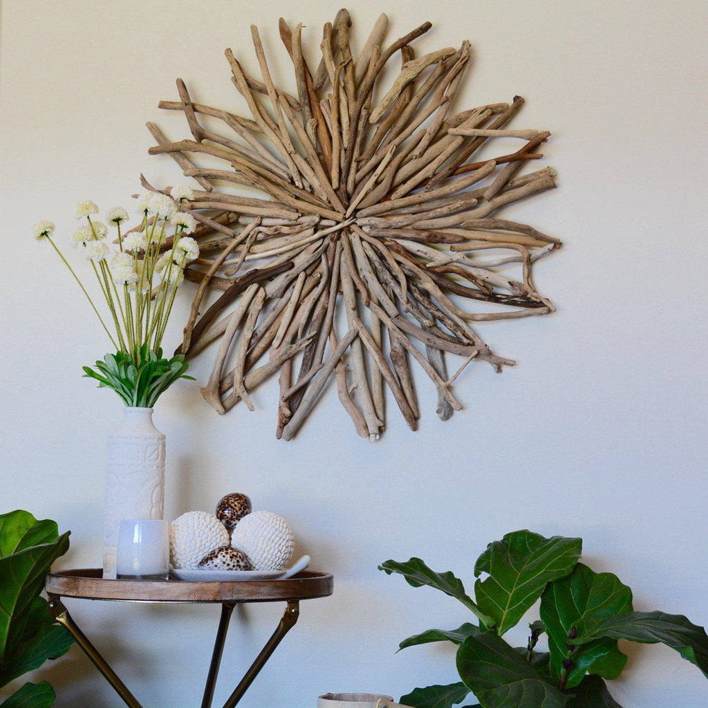 Driftwood Random Round Wall Hanging Art Indoor Outdoor 80cm Diameter-Janggalay