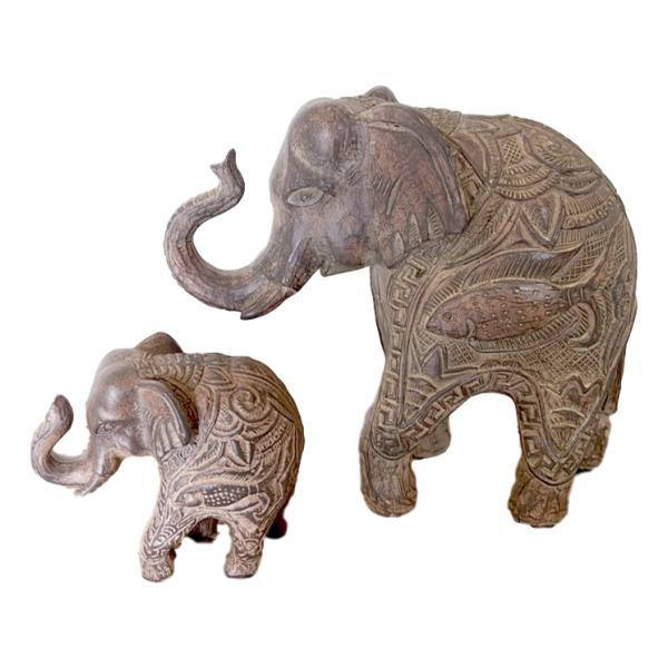 Haathee Carved Elephants Set of 2 - Janggalay
