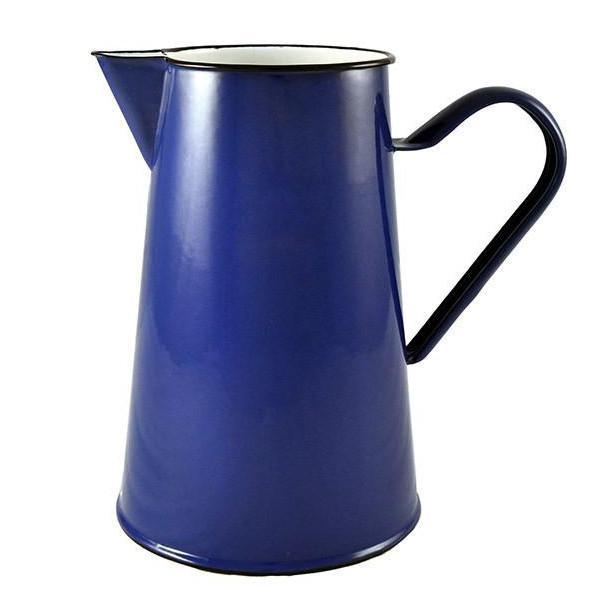 Handmade Blue Enamel Jug with Handle & Black Rim Romanian Enamelware-Janggalay