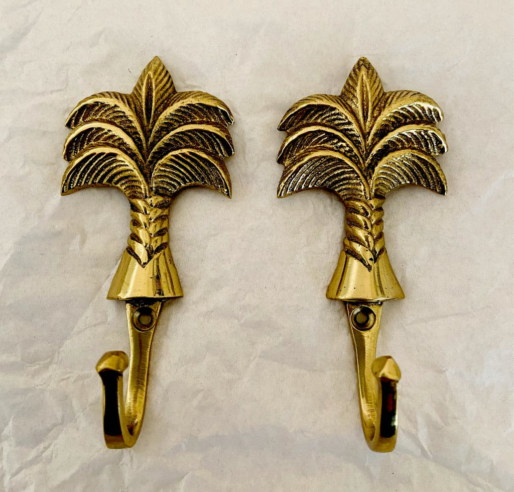 Palm Brass Hooks - set of 2