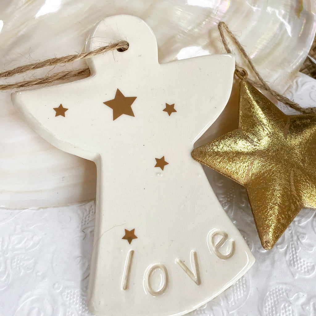 Angel ceramic Christmas decoration - Janggalay