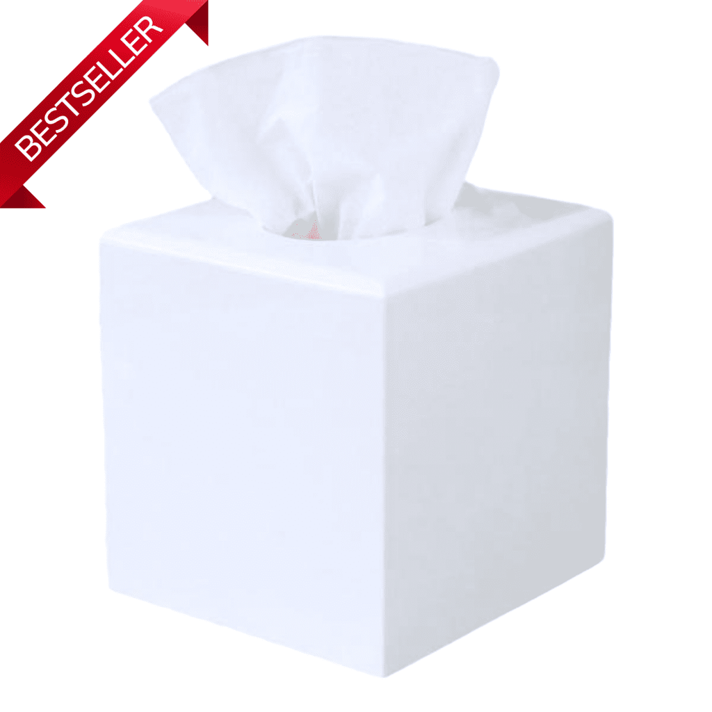 White Lacquer Tissue Box Cover Square