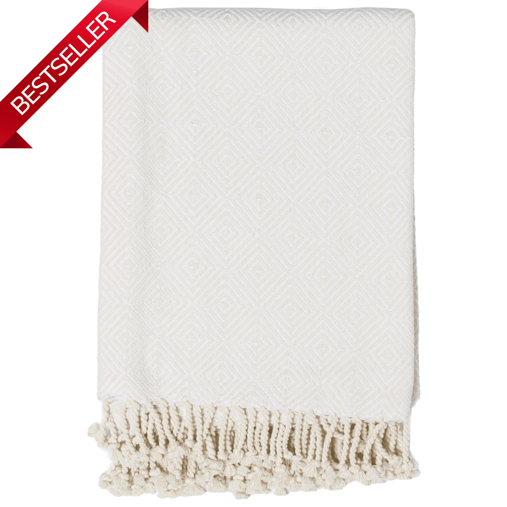 Cotton Throw with Tassels Ivory or Charcoal - Janggalay