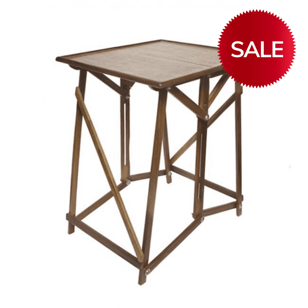 Wood Folding Side Coffee Table/Bedside Table/Lamp Table Square Walnut-Janggalay
