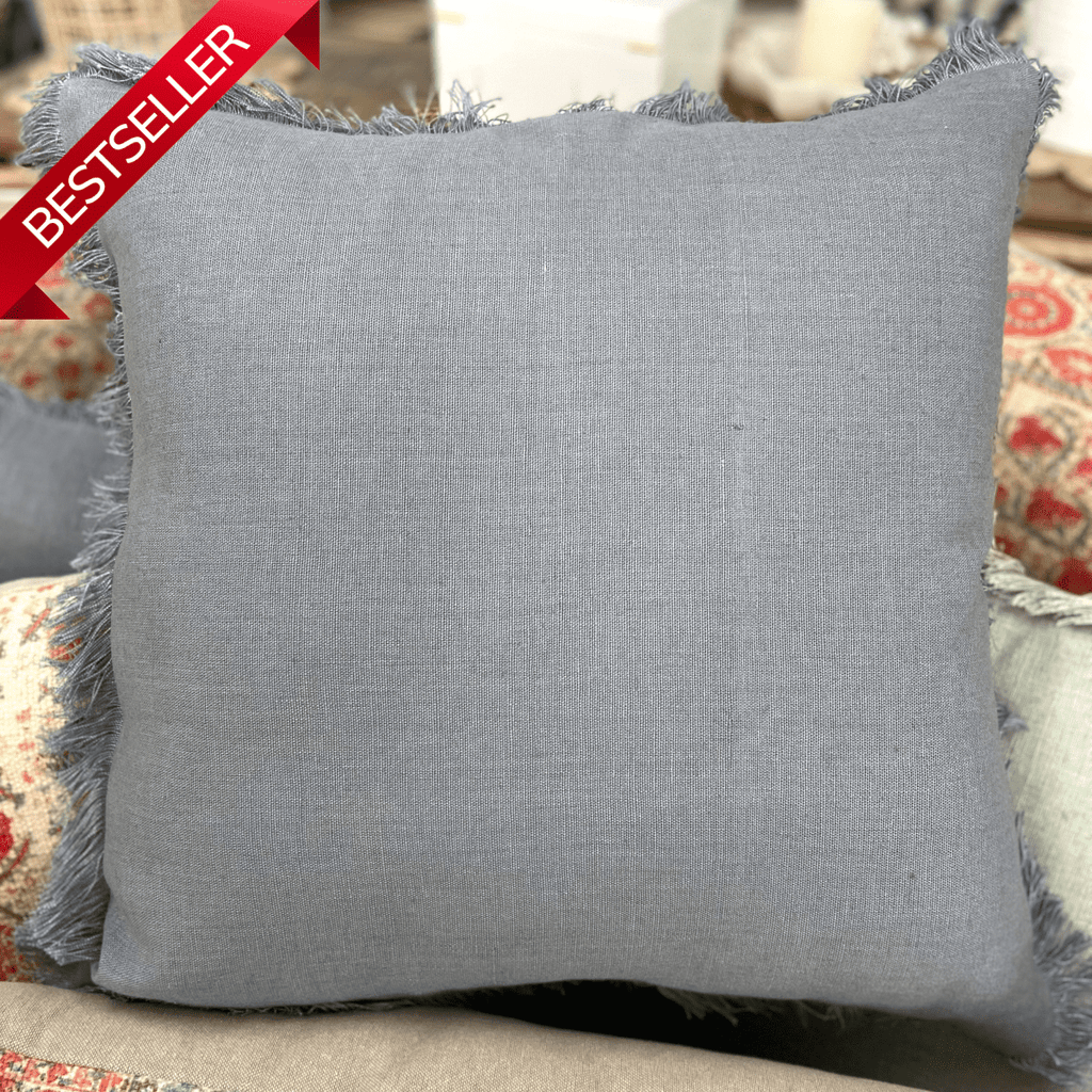 Classic Fringed Linen Dusty Grey Cushion