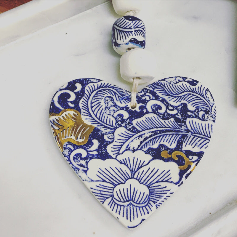 Blue and Gold Ceramic Heart Handmade-Janggalay