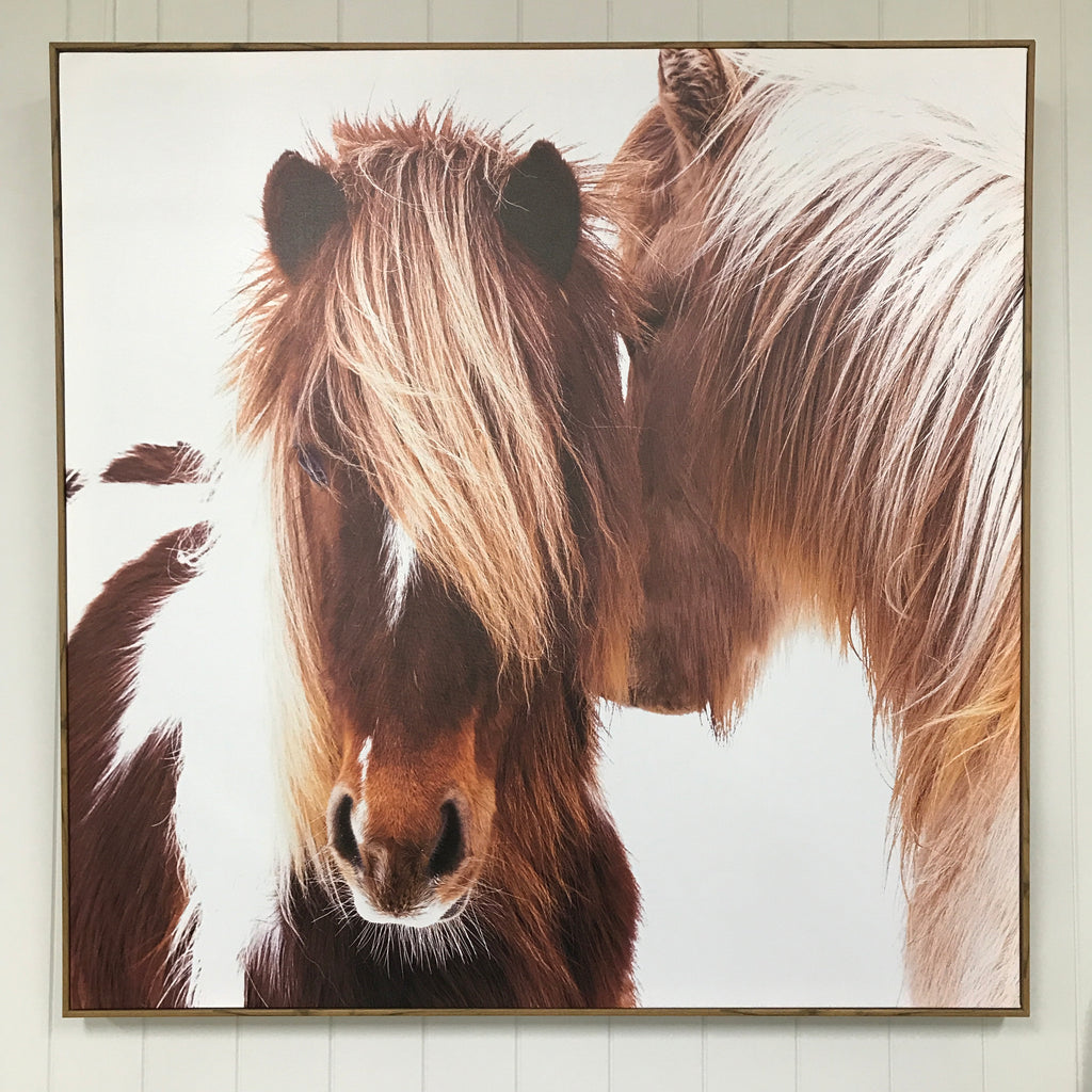 Snow Ponies Canvas in Oak Frame-Janggalay