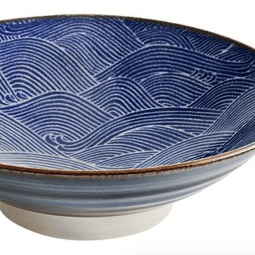 Japanese Wave Bowl Ohuke Blue and White Ceramic Nami-Janggalay