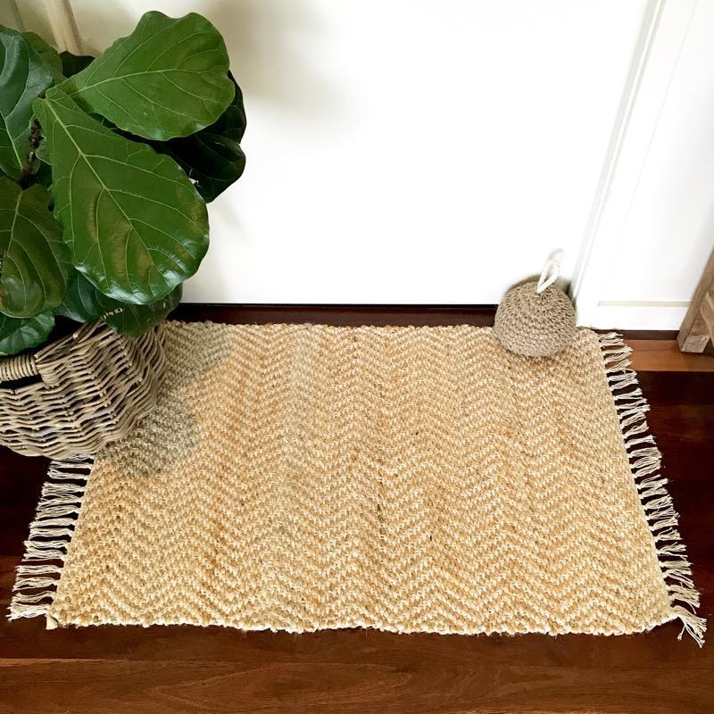 Jute Door Mat White Cotton Woven Rug 60cm x 90cm Natural Handmade-Janggalay