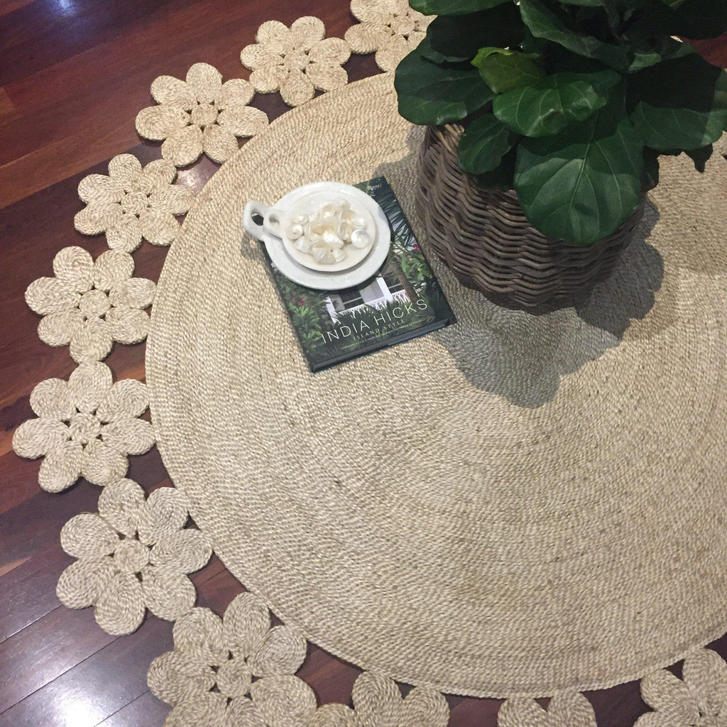 Jute Rug Round Daisy Chain Fairtrade-Janggalay