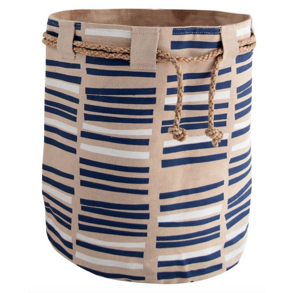 Jute Storage Basket Cloth Bucket Indigo Blue & White Toys Laundry-Janggalay