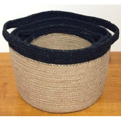 Jute Storage Baskets Round Plant Pot Covers Set of 3 with Black Trim-Janggalay