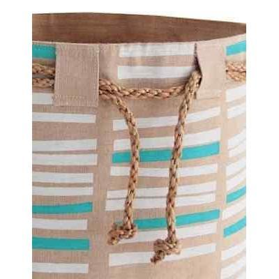 Jute Storage Basket/Sack Cloth Bucket Turquoise and White Toys Laundry-Janggalay