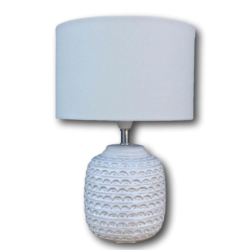 Wave Etched Ceramic Lamp with Linen Shade