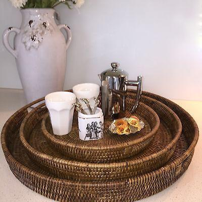 Large Round Rattan 40cm Serving Tray Dark Brown Handwoven Cane-Janggalay
