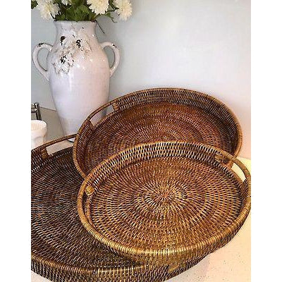 Large Round Rattan 40cm Serving Tray Dark Brown Handwoven Cane