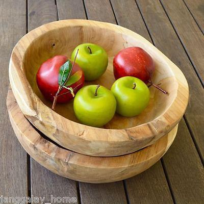 Large Round Teak Wood Fruit Bowl Bread Presentation Hand Carved-Janggalay