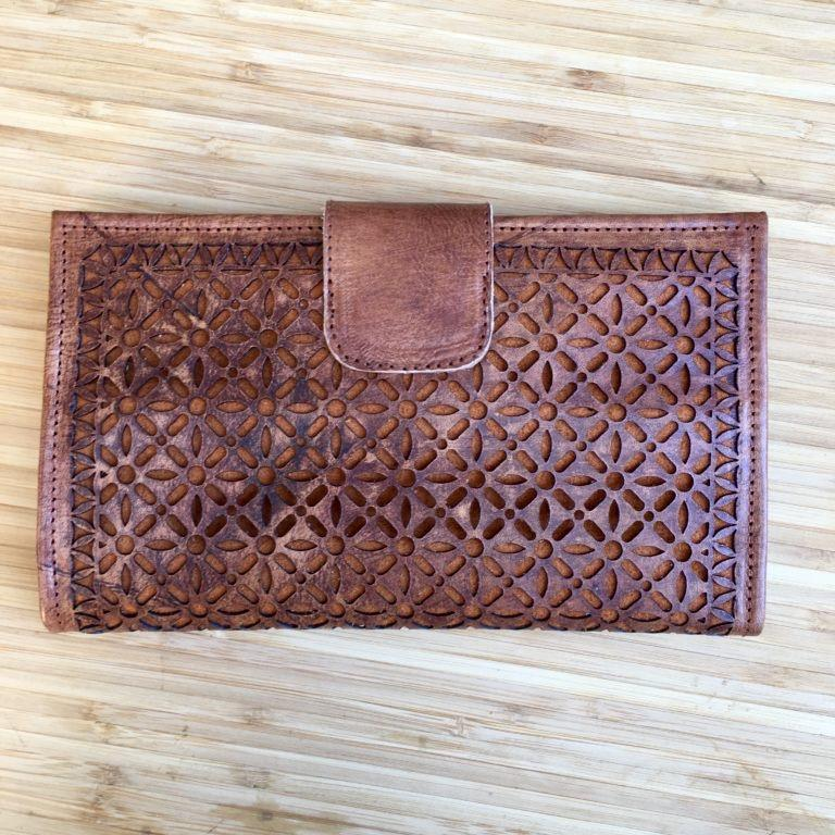 Leather Wallet Purse Laser Cut Travel Wallet Clutch Purse Black Tan Natural-Janggalay