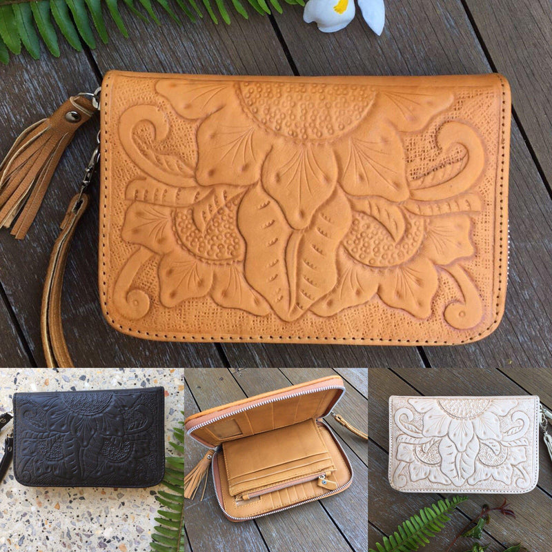 Leather Wallet Purse Sunflower Design Travel Wallet Purse Black Tan Natural-Janggalay