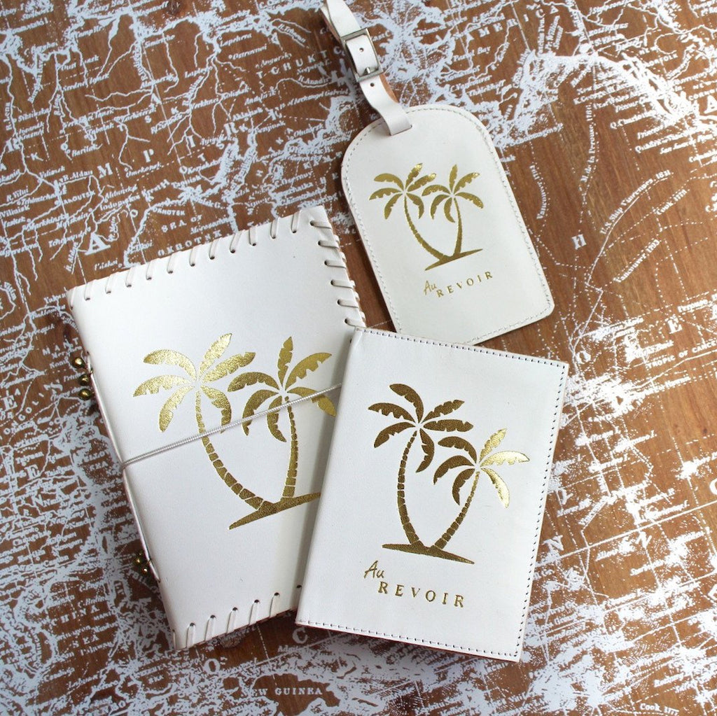 Gold Palm White Leather Luggage Tag