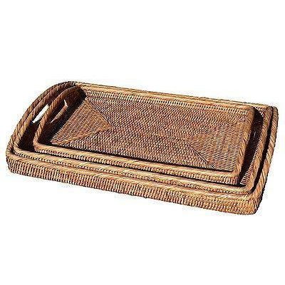 Medium Rattan Tray Rectangle Serving Entertaining Woven - Dark Brown-Janggalay