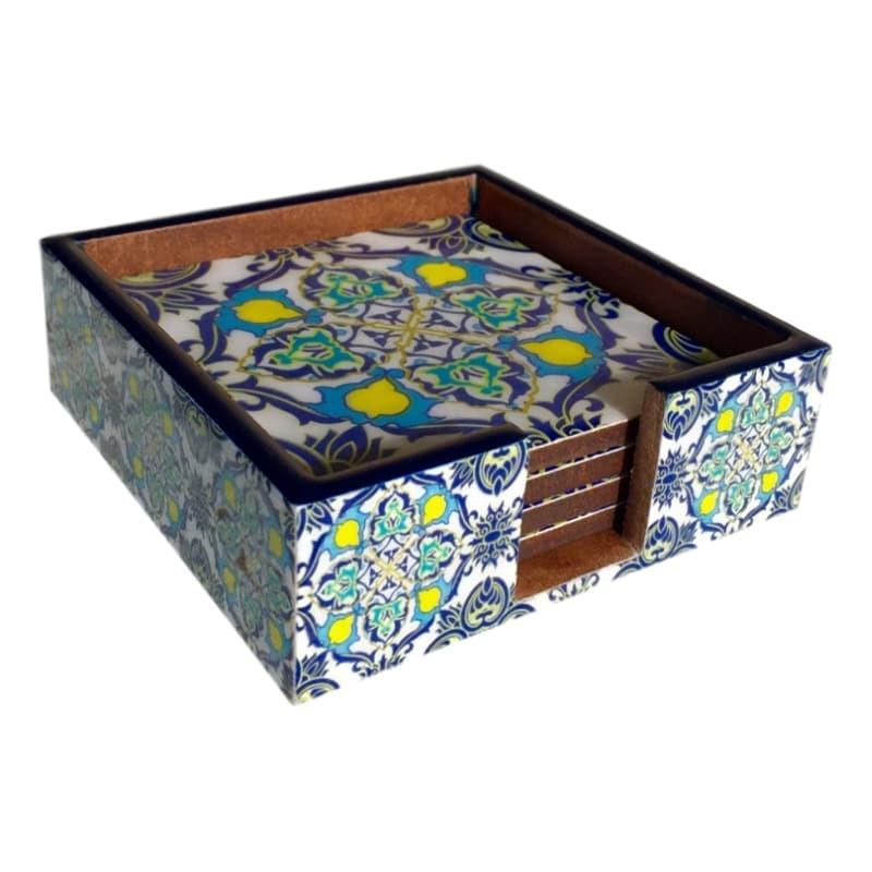 Moroccan Coaster Set Lacquer with Holder-Janggalay