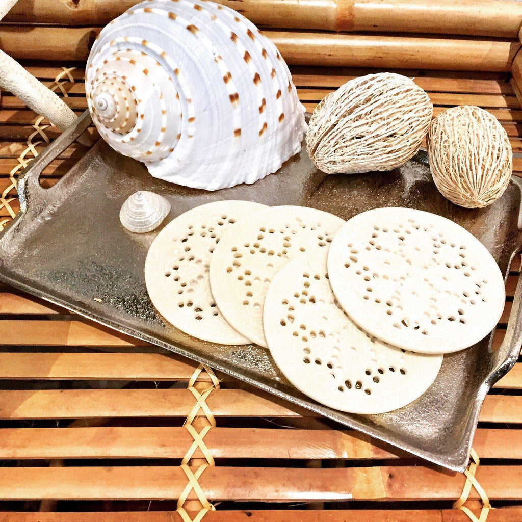 Moroccan Etched Round Coasters Set of 4 Ivory-Janggalay