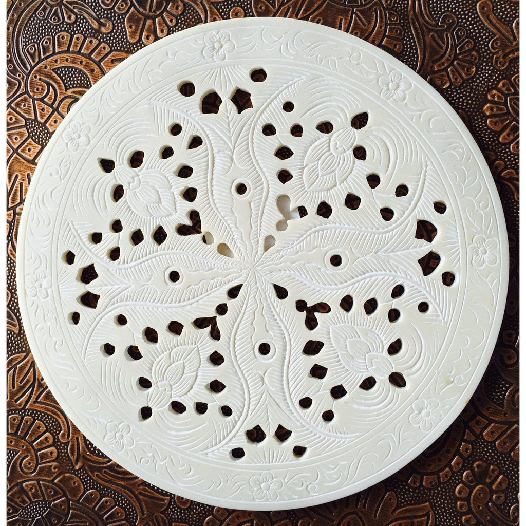 Moroccan Etched Round Placemat Set of 4 Ivory-Janggalay