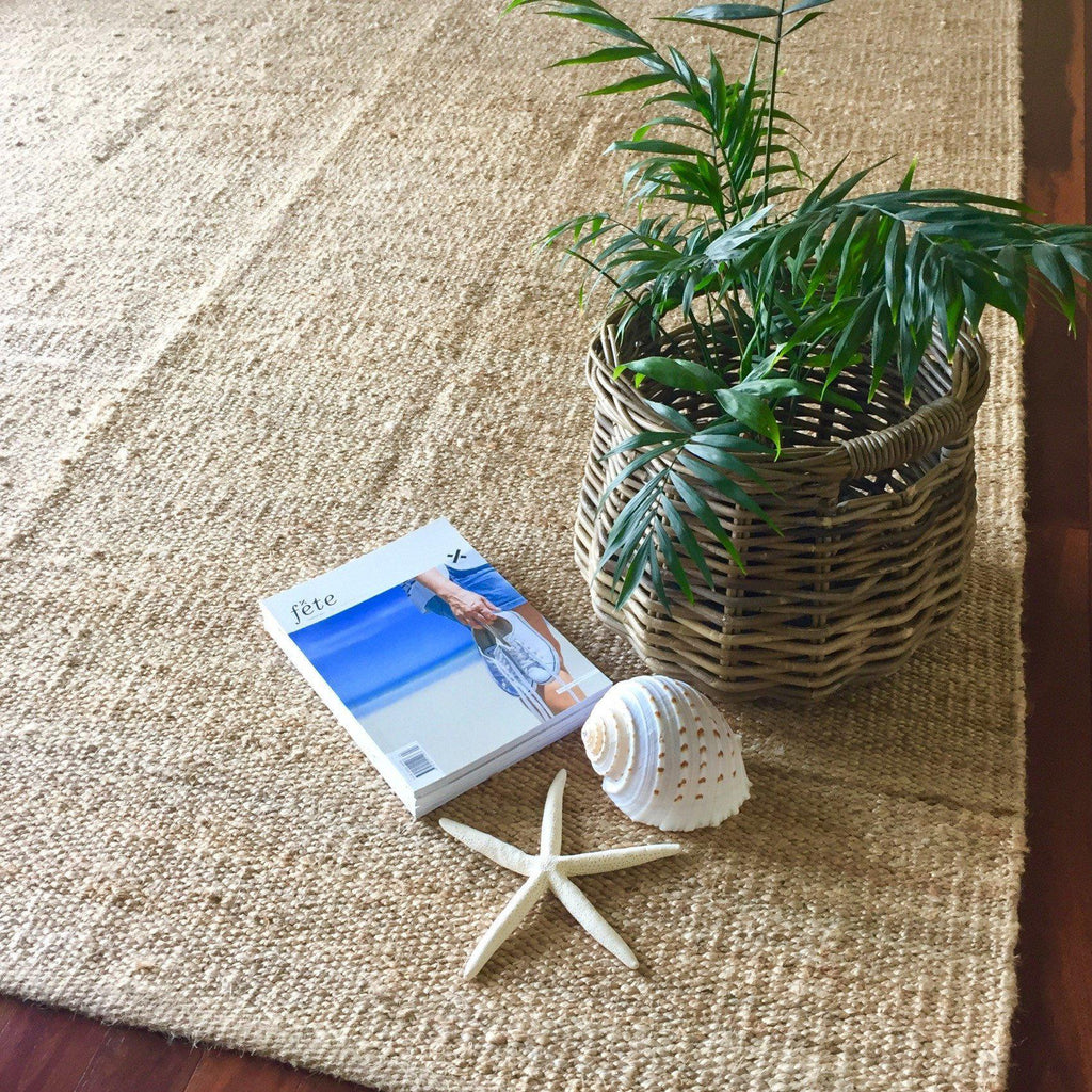 Natural Jute Rug Handwoven Braided Floor Mat Organic Rectangle Beige-Janggalay