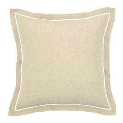 Natural Linen with Mint or Black or White Embroided Trim Cushion/Pillow by DG37 45cm-Janggalay