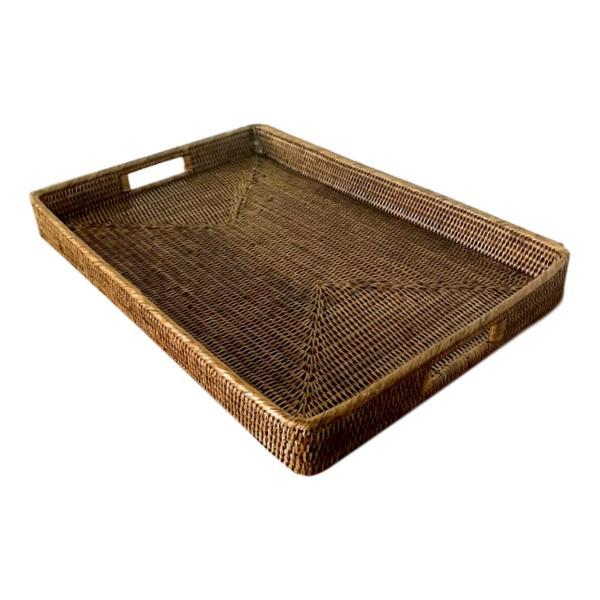 Noosa Rattan Tray Rectangle Serving Entertaining - Dark Brown-Janggalay
