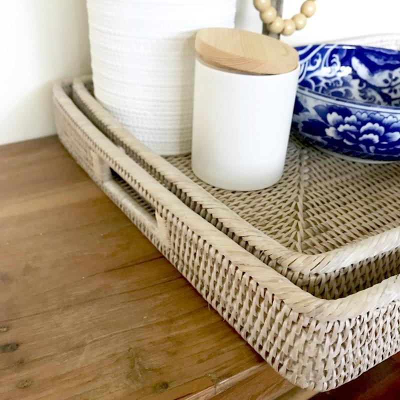 Noosa Rattan Tray Rectangle Serving Entertaining - White Wash-Janggalay