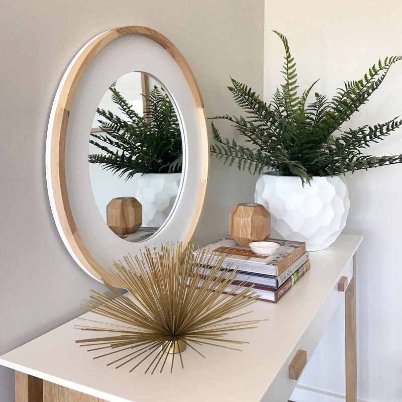 Oak Wood & White Round Mirror Natural-Janggalay
