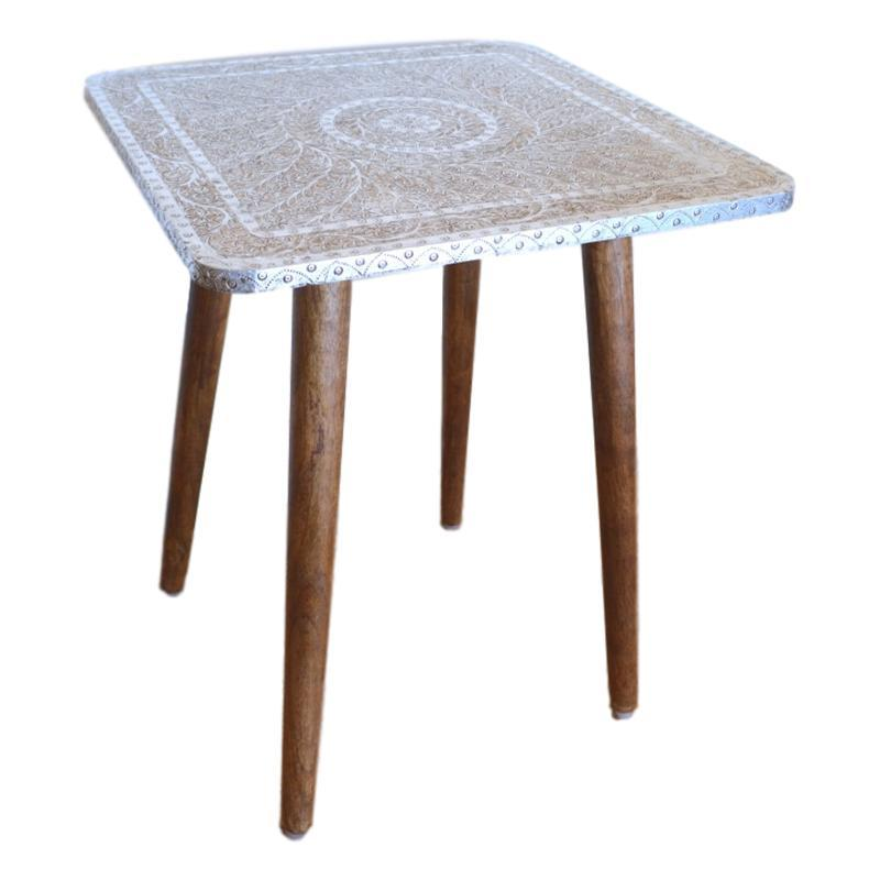 Oberoi Side Tables Silver Etched Square-Janggalay