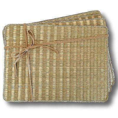 Quality Rectangle Seagrass Placemat Woven Rattan Handmade Dining Table Set of 4-Janggalay